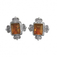 Hand-Crafted Amber Post Earrings