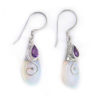 Sterling Silver Opalite & Amethyst Dangle Earrings