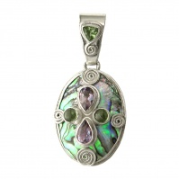 Paua Shell Pendant with Peridot and Amethyst and Sterling Silver Swirls