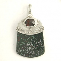 Bloodstone Pendant with Garnet