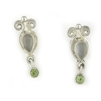 Rainbow Moonstone Post Earrings with Peridot