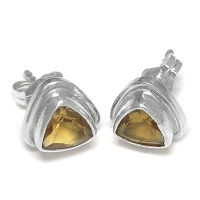 Trillion Faceted Citrine Silver Earrings