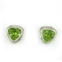 Trillion Faceted Peridot Post Earrings