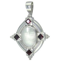 "Mabe Pearl and Garnet Pendant with 18"" chain"
