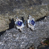 Sterling Silver Iolite Post Earrings