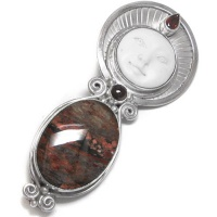 Goddess Pin-Pendant with Fantasy Jasper and Garnet
