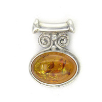 Sterling Silver Amber Oval Pendant with Tube Bale