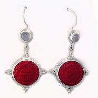 Sterling Silver Cinnabar Dangle Earrings with Moonstone