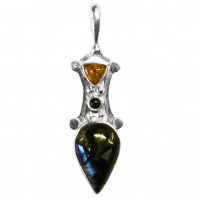 Pietersite, Amber, and Black Star Diopside Pendant