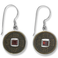 Chinese Coin and Garnet Silver Earrings