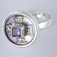 Rainbow Shell Coin and Iolite Ring