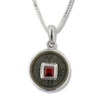 """Good Luck"" Chinese Coin and Garnet Silver Pendant"