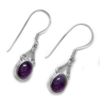 Hand Crafted Amethyst Oval Dangle Earrings