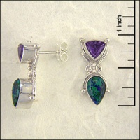 Azurite and Amethyst post Earrings