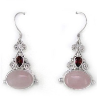 Rose Quartz and Garnet Dangle Earrings