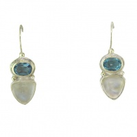Silver Blue Topaz and Rainbow Moonstone Latchback Earrings