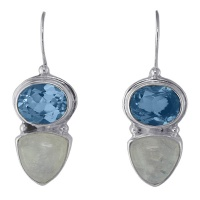 Moonstone and Faceted Blue Topaz Earrings