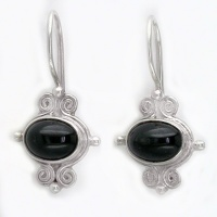 Black Star Diopside Sterling Silver Earrings