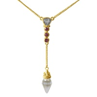 22k Vermeil Crystal Pendulum & Pink Tourmaline Necklace