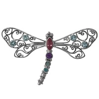 Pink Tourmaline and multi-gemstone Dragonfly Pin/Pendant