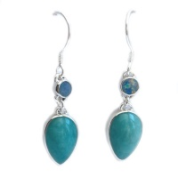 Amazonite Pear Dangle Earrings with Opal