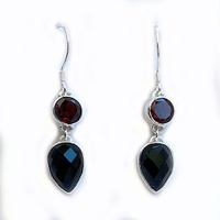 Faceted Onyx Pear Dangle Earrings with Garnet