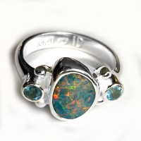 Free-Form Boulder Opal Ring with Blue Topaz