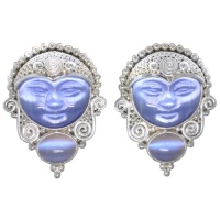 BLue Fiber Optic Goddess Clip On Earrings with Titanium Backed Moonstone