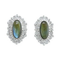 Labradorite Silver Clip-On Earrings
