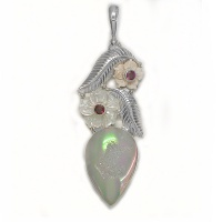 Opalized Window Druzy, Pink and White Mother of Pearl Flower and Rhodolite Pendant