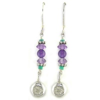 Turquoise and Amethyst Bead Earrings with Sterling Silvler Charm