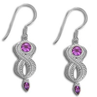 Sterling Silver Leaf Earrings with Amethyst