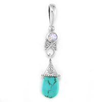 Turquoise Drop Pendant with Faceted Rainbow Moonstone
