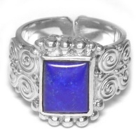 Sterling Silver Lapis Rectangle Ring