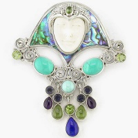 Multigemstone Goddess Pin-Pendant with Turquoise and Paua Shell