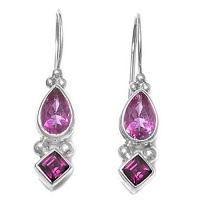 Passion Pink Topaz and Rhodolite Latch-Back Earrings