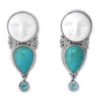 Goddess Clip Earrings with Turquise and Apatite