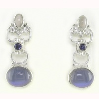 Titanium Backed Moonstone, Iolite and Moonstone Post Earrings