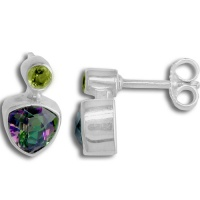 Mystic Topaz Trillian and Peridot Post Earrings