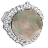 Faceted Black Rainbow Shell Ring