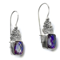 Rainbow Lavender Quartz Cushion Cut Silver Earrings
