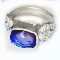 Faceted Rainbow Lavender Quartz Ring