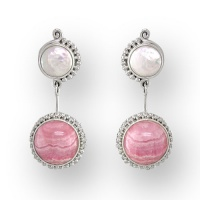 Rhodocrosite and Pearl Post Earrings