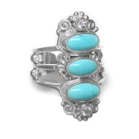 Turquoise and Sky Blue Topaz Ring