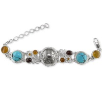 Indian Head Nickle Bracelet with Amber, Turquoise, Garnet Citrine & Moonstone