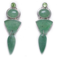 Aventurine & Peridot Post Earrings
