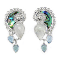 Rainbow Moonstone and Paua Shell Clip Earrings with Blue Topaz