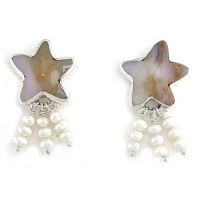 Ocean Jasper Starfish Post Earrings with Pearl Beads