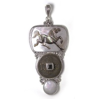 Gray Mother of Pearl Horse Pendant with Chinese Coin, Freshwater Pearl and Garnet