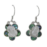Crystal Frog Paua Shell Earrings